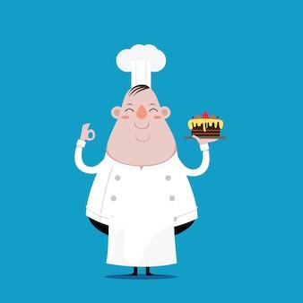 Толстый шеф-повар счастлив и держит торт в руках