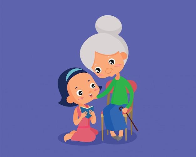 Девочки читают книги для бабушки
