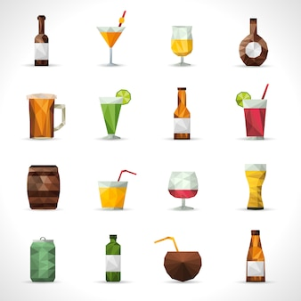 Алкогольные напитки полигональные иконки