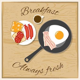 Завтрак цвет плоская концепция