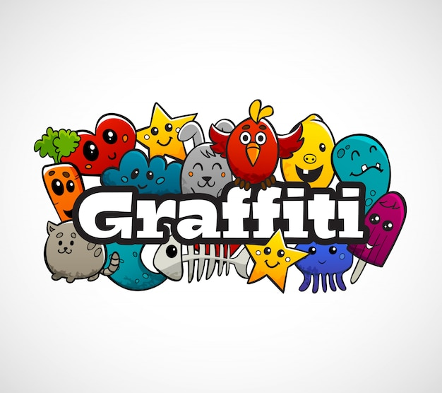 Граффити персонажей композиция плоская концепция