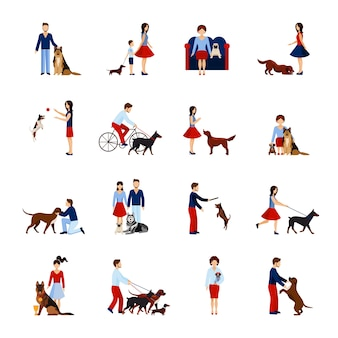 犬セットを持つ人々