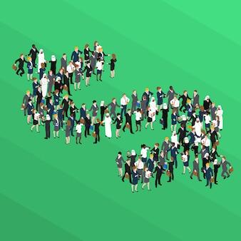 Толпа знак доллара изометрической концепции