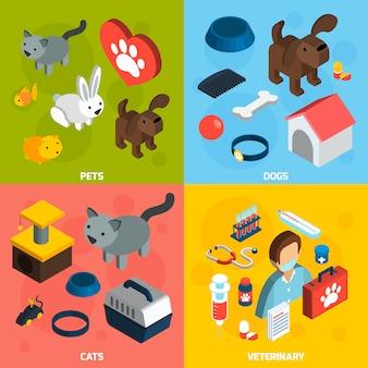 Домашние животные ветеринарный изометрические набор