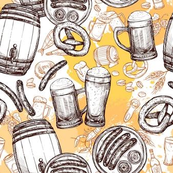 ビールのシームレスパターン