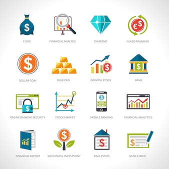 Набор иконок финансового анализа
