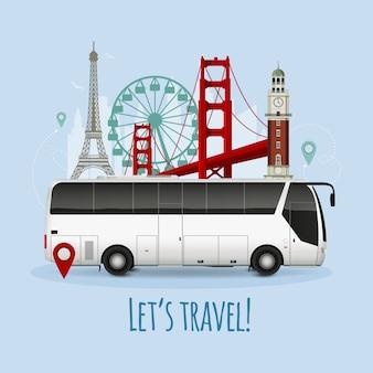 Реалистичная иллюстрация туристического автобуса