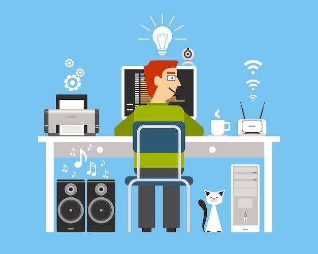 Программист на рабочем месте с компьютерными устройствами