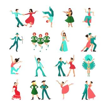 Различные стили танцующих мужчин соло