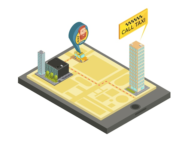 Такси мобильный сервис композиция с домами карта города и водитель автомобиля на экране гаджета изометрии векторная иллюстрация