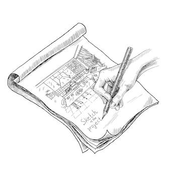 Иллюстрация кухни эскиз