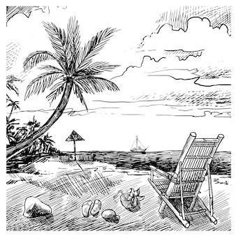 夏のビーチのスケッチ