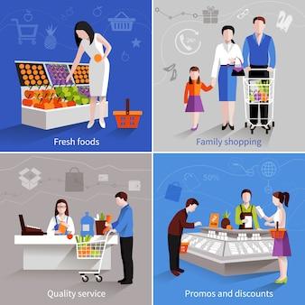 Люди в наборе концепции дизайна супермаркета