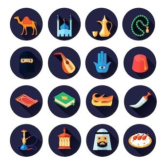 アラビア文化アイコンフラットセット