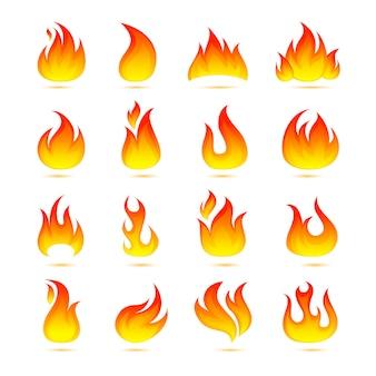 Набор иконок огонь