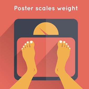 Весовой плакат с человеческими ногами, стоящими на напольных весах