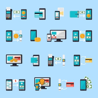 Набор иконок мобильной коммерции