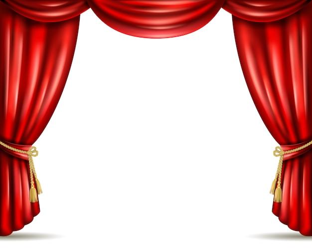 劇場の幕オープンフラットバナーイラスト