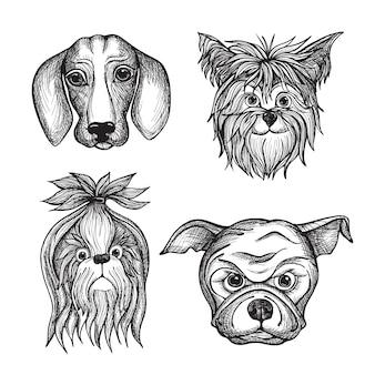 手描きの犬の顔セット