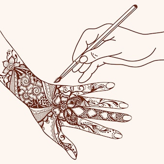 Рука рисования мехенди