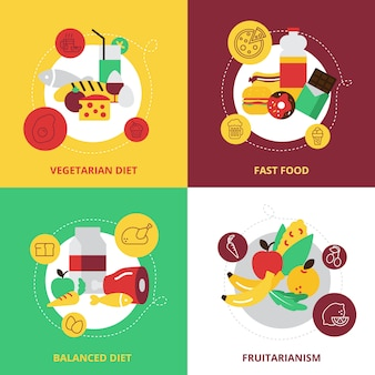 食べ物や飲み物のデザインコンセプトのアイコンを設定