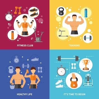 Фитнес клуб концепция здорового образа жизни
