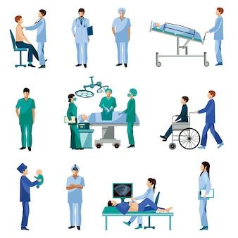 Медицинские профессиональные люди плоские иконки набор