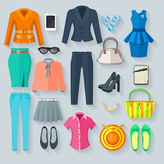 Цветная коллекция элементов женской одежды комплект брючный костюм юбка блузка платье джинсовая обувь и аксессуар плоские изолированных векторная иллюстрация