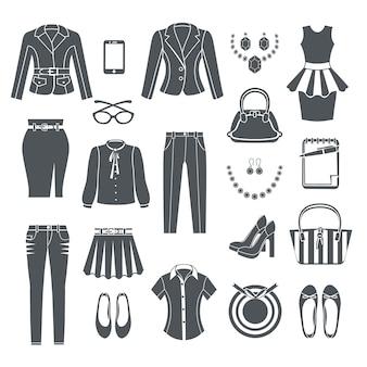 Современная коллекция женской одежды черные иконки набор платье брюки блузка джинсовая сумка обувь и ювелирные изделия плоские изолированные векторная иллюстрация