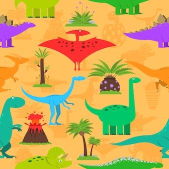 恐竜のシームレスパターン