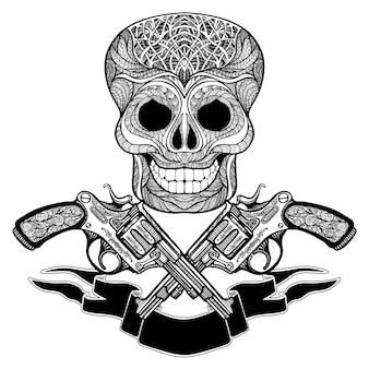 リボンと頭蓋骨の飾りと交差した銃