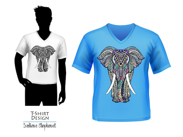 Индийский слон каракули дизайн футболки баннер