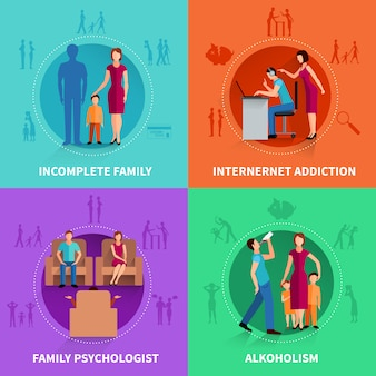 Семейный конфликт концепция дизайна набор