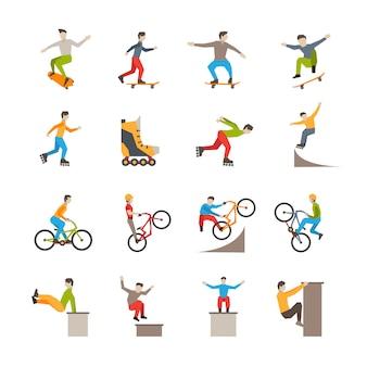 Векторные иконки городского спорта с людьми
