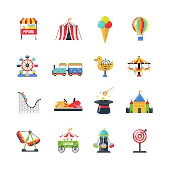 Плоские цветные изолированные иконки парк развлечений