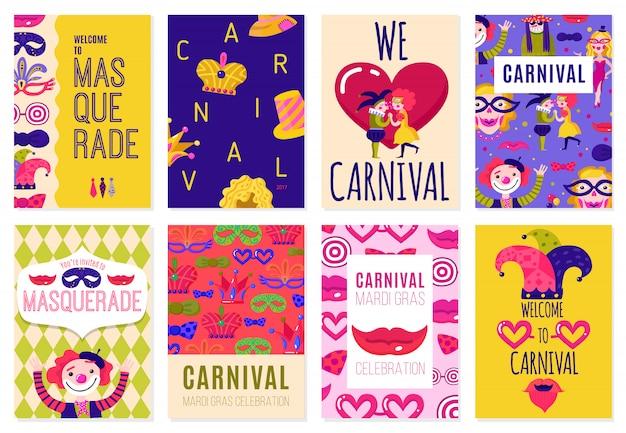 Набор из восьми карнавальных плакатов
