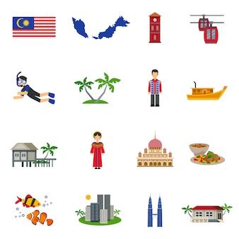 マレーシア文化のシンボルフラットアイコンセット