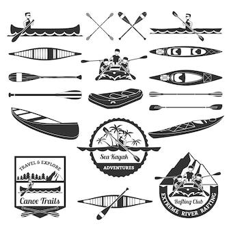 ラフティングカヌーとカヤックの要素セット