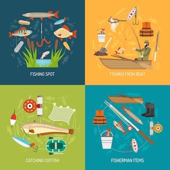 Рыбалка концепция векторное изображение