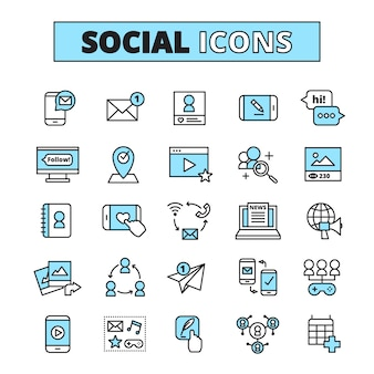 ソーシャルメディアの線アイコンセットインターネットコミュニティの電子メール通信とグループネットワーク共有