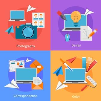 Набор плоских квадратных фон концепции дизайна