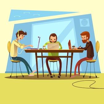 コワーキングとテーブルとディスカッションのシンボルを持つビジネス漫画のベクトル図