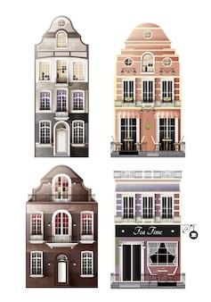 ヨーロッパの古いファサード住宅のバリエーション