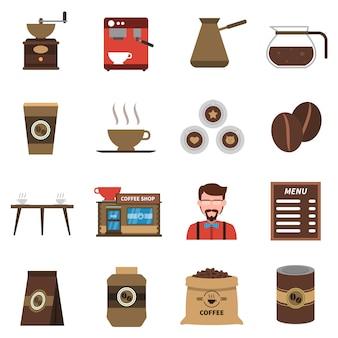コーヒーショップフラットアイコンセット