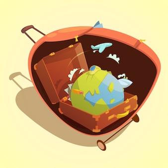 黄色の背景のベクトル図のスーツケースに世界中の旅行漫画コンセプト