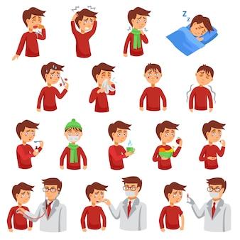 インフルエンザの病気のキャラクターセット