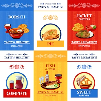 ロシア料理フラット構図ポスター