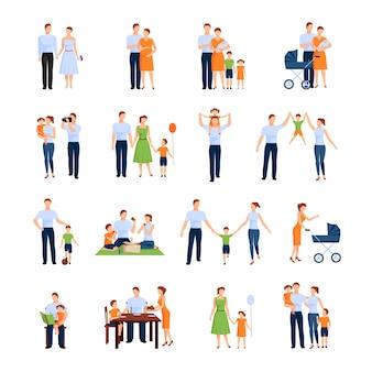 両親と子供を持つ家族のキャラクターセット