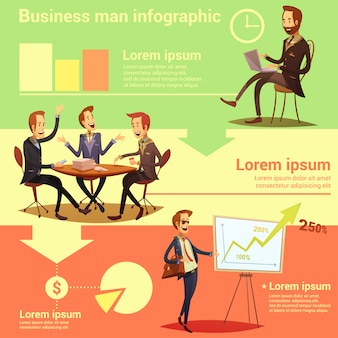 ビジネスマンインフォグラフィック作業時間と成功のシンボル入り漫画ベクトルイラスト
