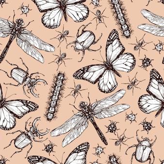 ビンテージの描かれた昆虫のシームレスパターン